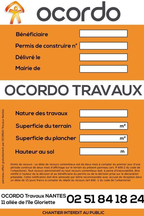 panneaux chantier Ocordo Travaux Nantes
